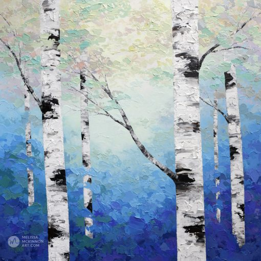 Blue forest landscape painting of aspen trees and birch trees in sunlight Giclee art print on canvas by contemporary abstract landscape artist Melissa McKinnon 'Dappled Light', tree paintings, tree art, landscape paintings, tree paintings on canvas, nature art, scenery painting,  birch tree art, tree of life painting, birch tree canvas, aspen tree paintings, birch tree paintings, nature paintings, tree art, art prints of trees, art prints of nature, giclee print on canvas, abstract landscape painting, birch trees, aspen trees, treescape, aspen tree art, aspens, birches, art print, prints on canvas, giclee prints, acrylic paintings, oil paintings, paintings with texture, tree of life, abstract landscape, landscape artist, forest paintings, birch tree painting, forest paintings, fall painting, autumn painting, abstract art, contemporary art, modern art, abstract painting, modern paintings, art gallery, art galleries, online art gallery, art for sale, paintings for sale, wall painting, wall art, wall decor, home decor, living room painting, American art, american artist, Canadian art, colourful art, living room art, bedroom decor, bedroom painting, kitchen decor, kitchen painting, kitchen art, bedroom art, fine art, painting, picture art, original art, original paintings, large paintings, Canadian paintings, American paintings, interiors, interior decorating, interior design, interior designer, home decor ideas, interior design ideas, living room ideas, home interior design, house decoration, Melissa McKinnon art, Melissa McKinnon paintings,