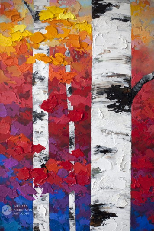 Colorful autumn forest landscape painting of aspen trees and birch trees in the fall Giclee art print on canvas by contemporary abstract landscape artist Melissa McKinnon painted with palette knife and impasto texture title 'Exuberant Autumn', tree paintings, landscape paintings, birch trees, aspen trees, treescape, tree paintings on canvas, birch tree art, tree of life painting, birch tree canvas, aspen tree paintings, tree art, aspens, birches, art print, prints on canvas, giclee prints, acrylic paintings, oil paintings, paintings with texture, tree of life, nature painting, scenery painting, abstract art, contemporary art, modern art, abstract painting, modern paintings, art gallery, art galleries, online art gallery, art for sale, paintings for sale, wall painting, wall art, wall decor, home decor, living room painting, abstract landscape painting, abstract landscape, landscape artist, forest paintings, birch tree painting, forest paintings, fall painting, autumn painting, American art, american artist, Canadian art, colourful art, living room art, bedroom decor, bedroom painting, kitchen decor, kitchen painting, kitchen art, bedroom art, fine art, painting, picture art, original art, original paintings, large paintings, Canadian paintings, American paintings, interiors, interior decorating, interior design, interior designer, home decor ideas, interior design ideas, living room ideas, home interior design, house decoration, Melissa McKinnon art, Melissa McKinnon paintings,