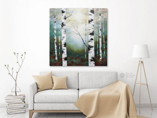 Textured landscape painting of aspen trees and birch trees at magic hour giclee art print on canvas by contemporary abstract landscape artist painter Melissa McKinnon 'Magic Hour', tree paintings, tree art, landscape paintings, tree paintings on canvas, nature art, scenery painting,  birch tree art, tree of life painting, birch tree canvas, aspen tree paintings, birch tree paintings, nature paintings, tree art, art prints of trees, art prints of nature, giclee print on canvas, abstract landscape painting, birch trees, aspen trees, treescape, aspen tree art, aspens, birches, art print, prints on canvas, giclee prints, acrylic paintings, oil paintings, paintings with texture, tree of life, abstract landscape, landscape artist, forest paintings, birch tree painting, forest paintings, fall painting, autumn painting, abstract art, contemporary art, modern art, abstract painting, modern paintings, art gallery, art galleries, online art gallery, art for sale, paintings for sale, wall painting, wall art, wall decor, home decor, living room painting, American art, american artist, Canadian art, colourful art, living room art, bedroom decor, bedroom painting, kitchen decor, kitchen painting, kitchen art, bedroom art, fine art, painting, picture art, original art, original paintings, large paintings, Canadian paintings, American paintings, interiors, interior decorating, interior design, interior designer, home decor ideas, interior design ideas, living room ideas, home interior design, house decoration, Melissa McKinnon art, Melissa McKinnon paintings,