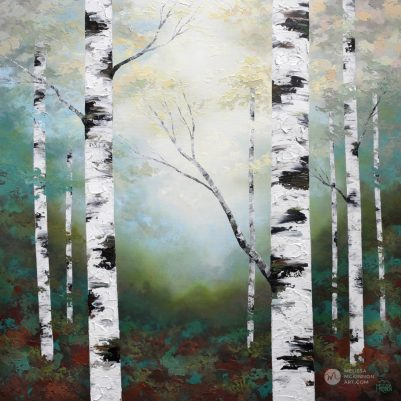 Textured tree landscape nature painting of aspen trees and birch trees at magic hour giclee art print on canvas by contemporary abstract landscape artist painter Melissa McKinnon 'Magic Hour', tree paintings, tree art, landscape paintings, tree paintings on canvas, nature art, scenery painting,  birch tree art, tree of life painting, birch tree canvas, aspen tree paintings, birch tree paintings, nature paintings, tree art, art prints of trees, art prints of nature, giclee print on canvas, abstract landscape painting, birch trees, aspen trees, treescape, aspen tree art, aspens, birches, art print, prints on canvas, giclee prints, acrylic paintings, oil paintings, paintings with texture, tree of life, abstract landscape, landscape artist, forest paintings, birch tree painting, forest paintings, fall painting, autumn painting, abstract art, contemporary art, modern art, abstract painting, modern paintings, art gallery, art galleries, online art gallery, art for sale, paintings for sale, wall painting, wall art, wall decor, home decor, living room painting, American art, american artist, Canadian art, colourful art, living room art, bedroom decor, bedroom painting, kitchen decor, kitchen painting, kitchen art, bedroom art, fine art, painting, picture art, original art, original paintings, large paintings, Canadian paintings, American paintings, interiors, interior decorating, interior design, interior designer, home decor ideas, interior design ideas, living room ideas, home interior design, house decoration, Melissa McKinnon art, Melissa McKinnon paintings,