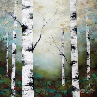 Textured landscape painting of aspen trees and birch trees in sunlight giclee art print on canvas by contemporary abstract landscape artist painter Melissa McKinnon 'Quietude', tree paintings, tree art, landscape paintings, tree paintings on canvas, nature art, scenery painting,  birch tree art, tree of life painting, birch tree canvas, aspen tree paintings, birch tree paintings, nature paintings, tree art, art prints of trees, art prints of nature, giclee print on canvas, abstract landscape painting, birch trees, aspen trees, treescape, aspen tree art, aspens, birches, art print, prints on canvas, giclee prints, acrylic paintings, oil paintings, paintings with texture, tree of life, abstract landscape, landscape artist, forest paintings, birch tree painting, forest paintings, fall painting, autumn painting, abstract art, contemporary art, modern art, abstract painting, modern paintings, art gallery, art galleries, online art gallery, art for sale, paintings for sale, wall painting, wall art, wall decor, home decor, living room painting, American art, american artist, Canadian art, colourful art, living room art, bedroom decor, bedroom painting, kitchen decor, kitchen painting, kitchen art, bedroom art, fine art, painting, picture art, original art, original paintings, large paintings, Canadian paintings, American paintings, interiors, interior decorating, interior design, interior designer, home decor ideas, interior design ideas, living room ideas, home interior design, house decoration, Melissa McKinnon art, Melissa McKinnon paintings,