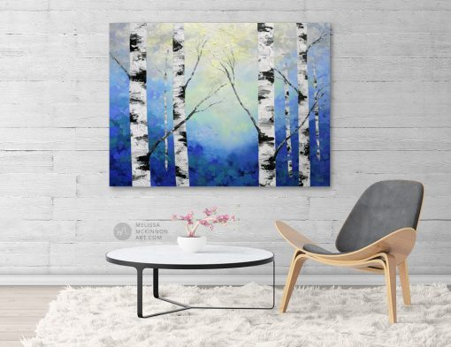 Blue forest landscape painting of aspen trees and birch trees in sunlight Giclee art print on canvas by contemporary abstract landscape artist Melissa McKinnon 'Radiant Light', tree paintings, tree art, landscape paintings, tree paintings on canvas, nature art, scenery painting,  birch tree art, tree of life painting, birch tree canvas, aspen tree paintings, birch tree paintings, nature paintings, tree art, art prints of trees, art prints of nature, giclee print on canvas, abstract landscape painting, birch trees, aspen trees, treescape, aspen tree art, aspens, birches, art print, prints on canvas, giclee prints, acrylic paintings, oil paintings, paintings with texture, tree of life, abstract landscape, landscape artist, forest paintings, birch tree painting, forest paintings, fall painting, autumn painting, abstract art, contemporary art, modern art, abstract painting, modern paintings, art gallery, art galleries, online art gallery, art for sale, paintings for sale, wall painting, wall art, wall decor, home decor, living room painting, American art, american artist, Canadian art, colourful art, living room art, bedroom decor, bedroom painting, kitchen decor, kitchen painting, kitchen art, bedroom art, fine art, painting, picture art, original art, original paintings, large paintings, Canadian paintings, American paintings, interiors, interior decorating, interior design, interior designer, home decor ideas, interior design ideas, living room ideas, home interior design, house decoration, Melissa McKinnon art, Melissa McKinnon paintings,
