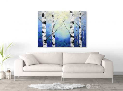 Blue forest landscape painting of aspen trees and birch trees in sunlight Giclee art print on canvas by contemporary abstract landscape artist Melissa McKinnon 'Radiant Light', tree paintings, tree art,landscape paintings,tree paintings on canvas,nature art, scenery painting,birch tree art, tree of life painting,birch tree canvas, aspen tree paintings,birch treepaintings, nature paintings, tree art, art prints of trees, art prints of nature, giclee print on canvas,abstract landscape painting,birch trees, aspen trees,treescape,aspen tree art, aspens, birches, art print, prints on canvas, giclee prints,acrylic paintings, oilpaintings, paintings with texture, tree of life,abstractlandscape, landscape artist, forest paintings,birch tree painting, forest paintings,fall painting, autumn painting, abstract art, contemporary art, modern art, abstractpainting,modern paintings, art gallery, art galleries, online art gallery, art for sale, paintings for sale, wall painting, wall art, wall decor, home decor, living room painting,American art, american artist, Canadian art,colourful art, living room art, bedroom decor, bedroom painting, kitchen decor, kitchen painting, kitchen art, bedroom art, fine art, painting, picture art,original art, original paintings, large paintings,Canadian paintings, American paintings,interiors, interior decorating, interior design, interior designer, home decor ideas, interior design ideas, living room ideas, home interior design, house decoration, Melissa McKinnon art, Melissa McKinnon paintings,