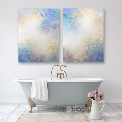 Abstract painting of clouds and sky Giclee art print on canvas by contemporary abstract artist Melissa McKinnon painted with palette knife and impasto texture - Something In the Air I and II