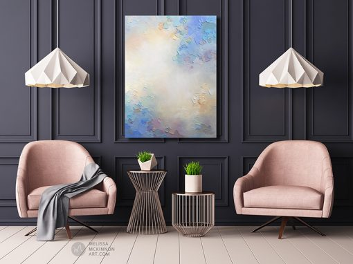 Abstract painting of clouds and sky Giclee art print on canvas by contemporary abstract artist Melissa McKinnon painted with palette knife and impasto texture - Something In the Air I