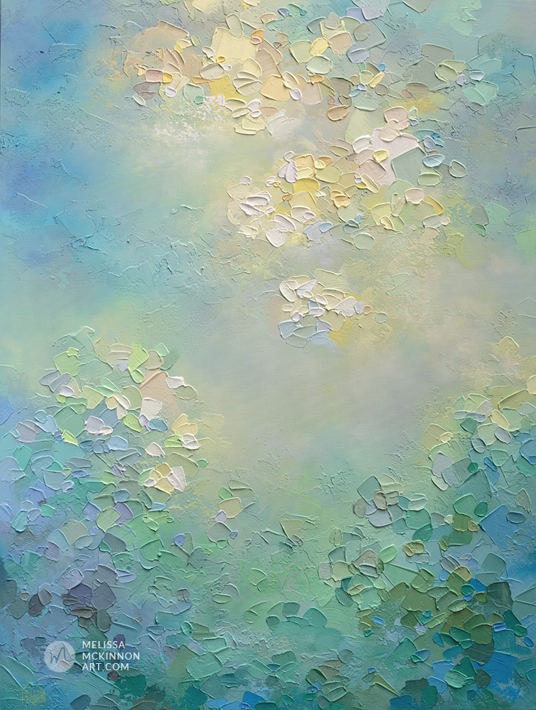 Japan abstract painting of sunny sky with clouds and green garden Giclee art print on canvas by contemporary abstract artist Melissa McKinnon painted with palette knife and impasto texture - Tranquil Garden Study