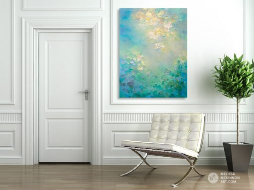 Abstract painting of sunny sky with clouds and green garden Giclee art print on canvas by contemporary abstract artist Melissa McKinnon painted with palette knife and impasto texture - Tranquil Garden Study