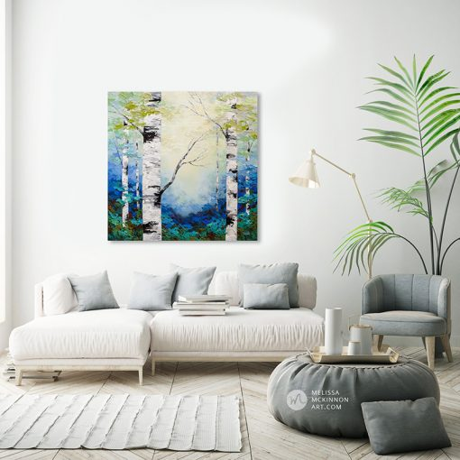 Fine art textured painting of aspen trees and birch trees in sunlit forest Giclee art print on canvas by contemporary abstract landscape artist Melissa McKinnon painted with palette knife and impasto texture display in a modern white living room.