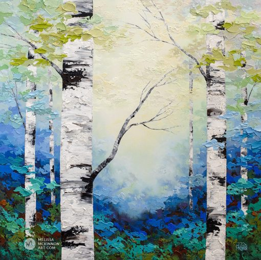 Fine art textured painting of aspen trees and birch trees in sunlit forest Giclee art print on canvas by contemporary abstract landscape artist Melissa McKinnon painted with palette knife and impasto texture.