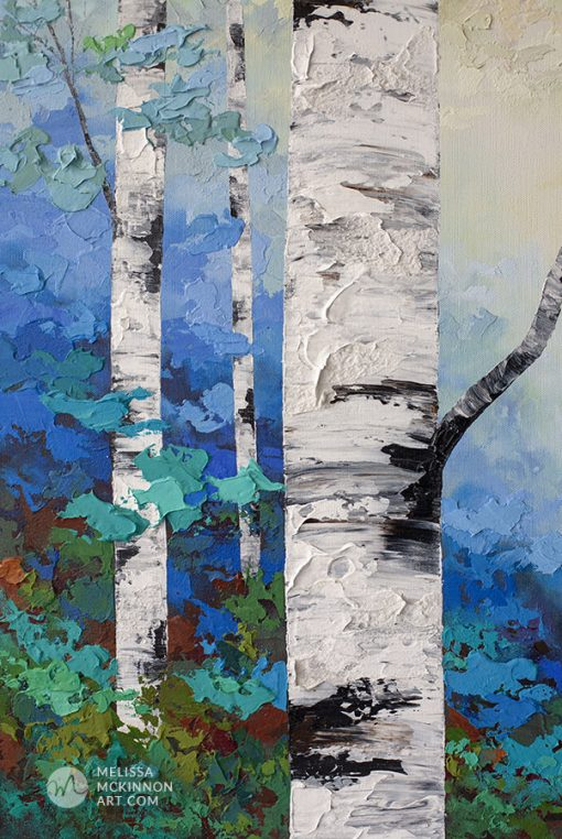 Close up detail of a textured painting of aspen trees and birch trees in sunlit forest Giclee art print on canvas by contemporary abstract landscape artist Melissa McKinnon painted with palette knife and impasto texture.