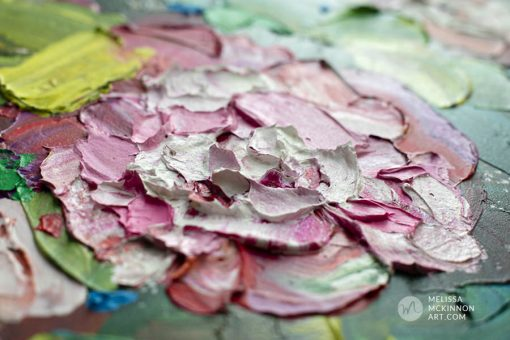 Up close detail of a fine art abstract flower painting and floral art by contemporary artist Melissa McKinnon painted with palette knife and thick impasto texture.