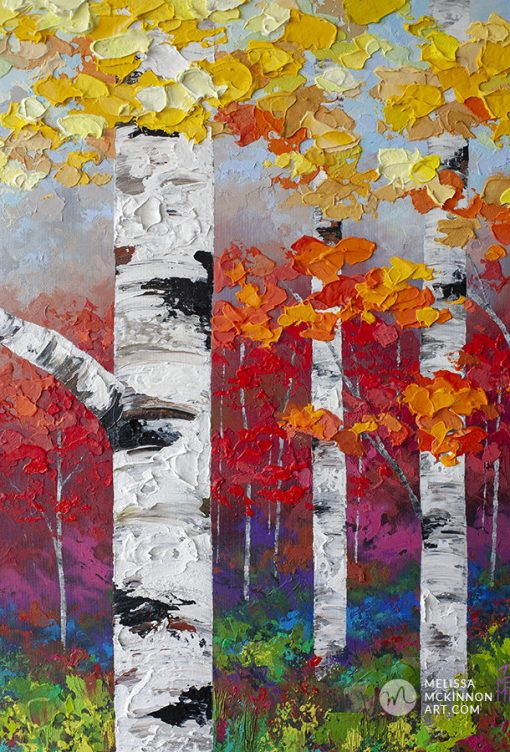 Fine art painting of birch trees and aspen trees in autumn forest by contemporary artist abstract landscape painter Melissa McKinnon painted with palette knife and impasto texture.