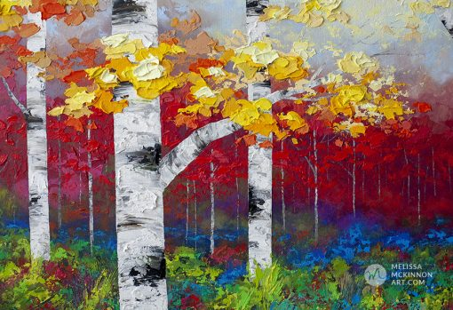Colourful fine art painting of birch trees and aspen trees in autumn forest by contemporary artist abstract landscape painter Melissa McKinnon painted with palette knife and impasto texture.