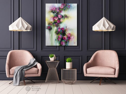Colourful impressionist flower painting of garden roses and abstract floral art by contemporary artist Melissa McKinnon painted with palette knife and thick impasto texture displayed in a modern living room.