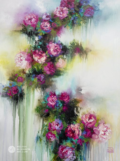 Colourful impressionist flower painting of garden roses and abstract floral art by contemporary artist Melissa McKinnon painted with palette knife and thick impasto texture.