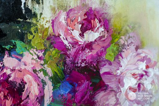 Close up detail of a fine art abstract flower painting of roses and floral art by contemporary artist Melissa McKinnon painted with palette knife and thick impasto texture.