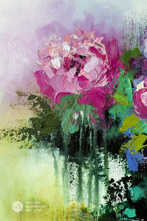 Fine art abstract flower painting of roses and floral art by contemporary artist Melissa McKinnon painted with palette knife and thick impasto texture.
