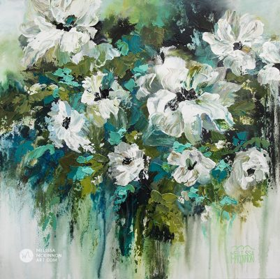 Impressionist white flower painting and floral art by contemporary artist Melissa McKinnon painted with palette knife and thick impasto texture.