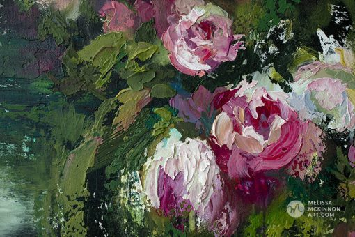 Contemporary impressionist flower painting and abstract floral art prints by artist Melissa McKinnon painted with palette knife and thick impasto texture.