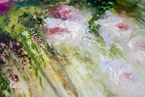 Up close detail of a contemporary flower painting and abstract floral art by artist Melissa McKinnon painted with palette knife and thick impasto texture.
