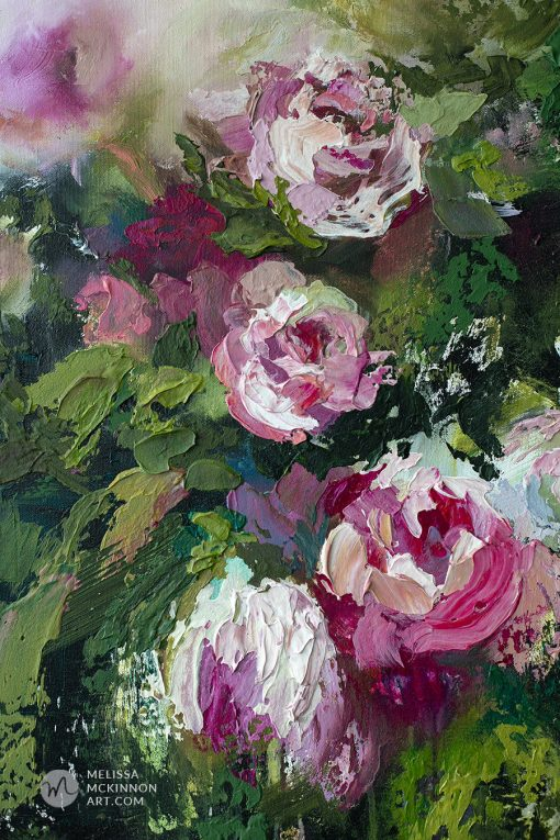 Contemporary flower painting and abstract floral art by artist Melissa McKinnon painted with palette knife and thick impasto texture.