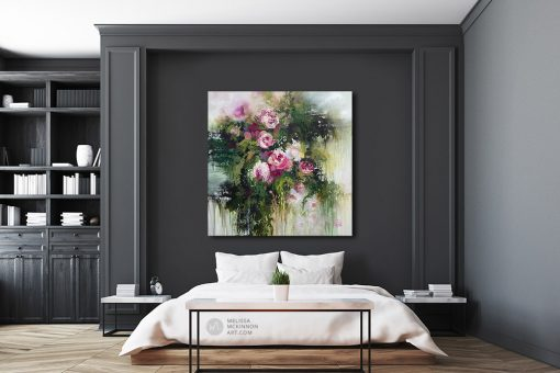 Beautiful impressionist flower painting and abstract floral art by artist Melissa McKinnon painted with palette knife and thick impasto texture displayed in a contemporary modern bedroom.