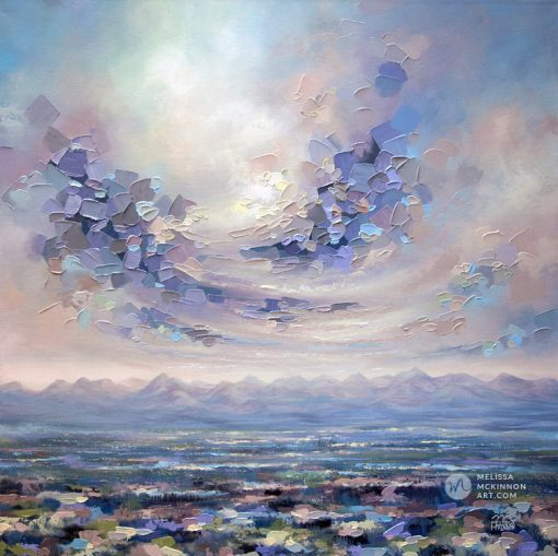 Large art print on canvas of mountain landscape and colourful cloudy sky by contemporary artist Melissa McKinnon