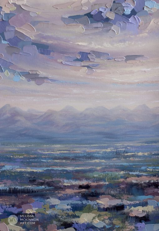 Large art print on canvas of mountain landscape and colourful cloudy sky by contemporary artist Melissa McKinnon title Beneath the Surface