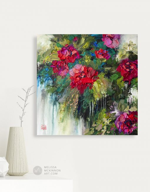 Colorful and textured red rose flower painting and floral art print by contemporary artist Melissa McKinnon title Bloom Where You Are Planted