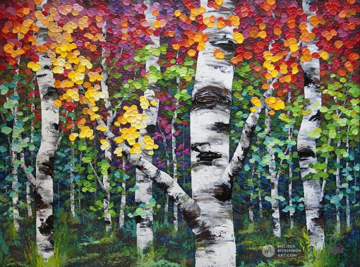Tree art print on canvas of colorful autumn aspen and birch trees by contemporary artist Melissa McKinnon title Colorado Autumn