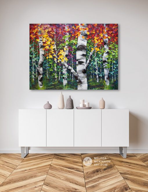 Tree art print on canvas of colorful autumn aspen and birch trees by artist Melissa McKinnon hanging in modern home title Colorado Autumn