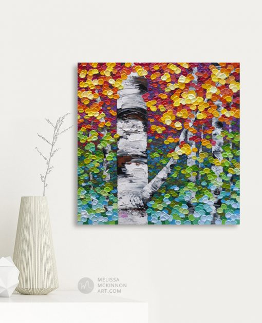 Affordable giclee art print on canvas of aspen and birch trees in autumn forest by artist Melissa McKinnon displayed in modern home title Colour Fest
