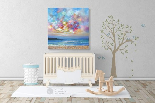 Affordable wall art print of ocean beach seascape and colorful sunset sky by Melissa McKinnon displayed in modern kids room title Colourbration
