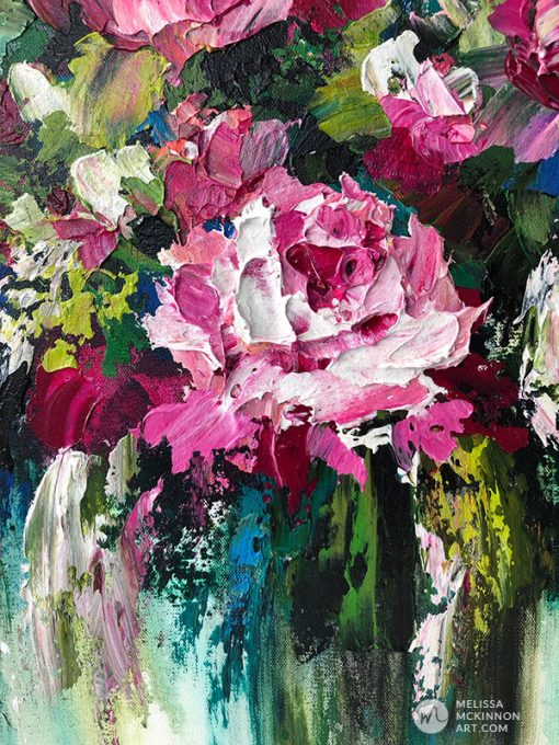 Modern flower painting of pink roses and floral art prints by contemporary artist Melissa McKinnon title Everything Is Coming Up Roses