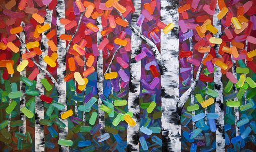 Abstract art print on canvas of aspen and birch trees in autumn forest by Canadian landscape artist Melissa McKinnon title Eye Candy