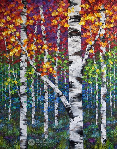 Large canvas art print of autumn birch trees and aspen trees by contemporary artist Melissa McKinnon title Festival of Colour