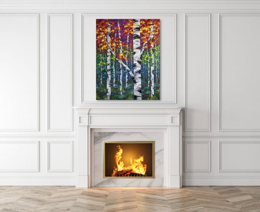 Large canvas art print of autumn birch and aspen trees by artist Melissa McKinnon hanging over fireplace title Festival of Colour