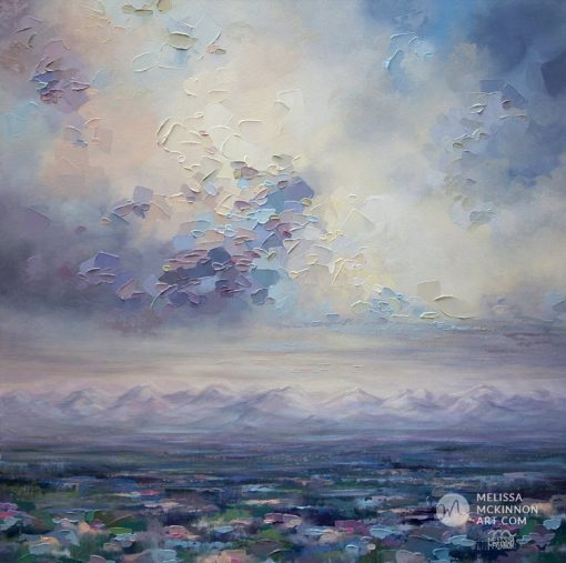 Affordable wall art print of mountain landscape and pastel cloudy sky by contemporary artist Melissa McKinnon title Fondness for Grey