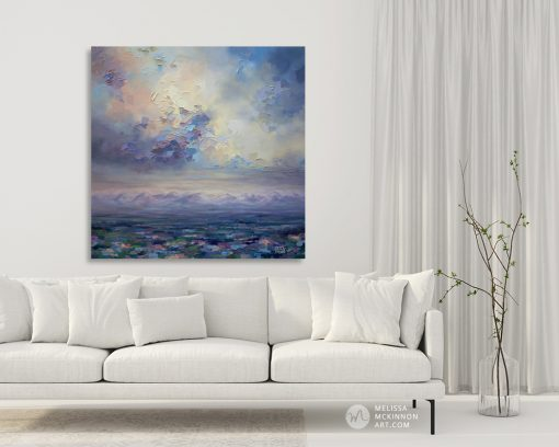 Affordable wall art print of mountain landscape and pastel cloudy sky hanging in a modern home title Fondness for Grey
