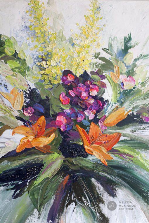 Flower art print of pink orange yellow floral arrangement by modern artist Melissa McKinnon title Gratitude and Joy