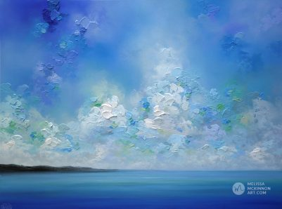 Seascape art print on canvas of blue ocean sea and cloudy sky by contemporary landscape artist Melissa McKinnon title Horizon Blue