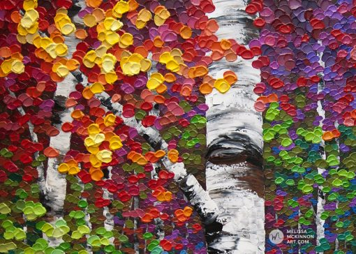 Affordable canvas art print of autumn birch trees and aspen trees by contemporary artist Melissa McKinnon title Kaleidoscope Trees