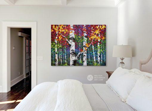 Living room canvas art print of autumn birch trees and aspen trees by artist Melissa McKinnon title Kaleidoscope Trees
