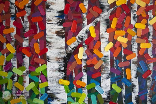 Abstract art print on canvas of aspen and birch trees in autumn forest by abstract landscape artist Melissa McKinnon title Listen To The Leaves