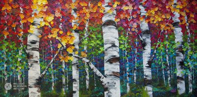 Impressionist art print on canvas of aspen trees and birch trees in autumn forest by Canadian landscape artist Melissa McKinnon title Long Journey Home