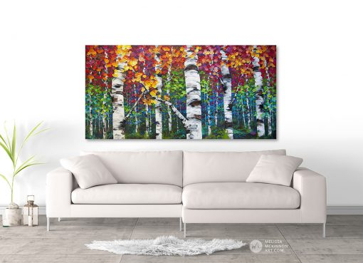 Impressionist art print on canvas of aspen trees and birch trees in autumn by artist Melissa McKinnon hanging above sofa title Long Journey Home