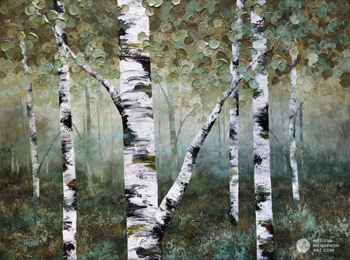 Affordable nature art print on canvas of aspen trees and birch trees in forest by Contemporary abstract landscape artist Melissa McKinnon title Misty Morning