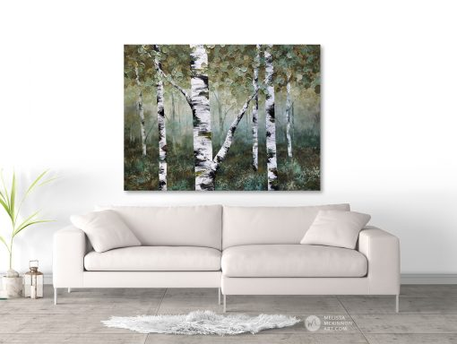 Affordable nature art print on canvas of aspen trees and birch trees in forest by artist Melissa McKinnon hanging in modern living room title Misty Morning