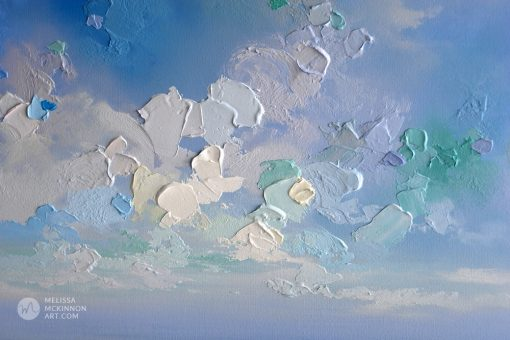 Abstract sky art print on canvas of cloudy sky over blue ocean seascape by abstract artist Melissa McKinnon title New Horizons