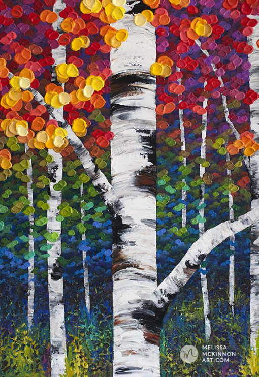 Fine art print for sale of aspen trees and birch trees in autumn forest by contemporary landscape artist Melissa McKinnon title Not An Ordinary Day